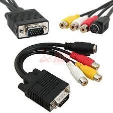vga svga to s video rca av tv out cable adapter converter pc image is loading vga svga to s video 3 rca av