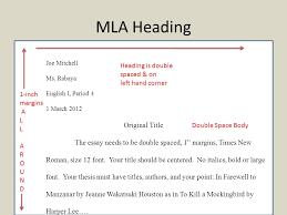 Mla Headig Mla Citations Mla Heading Joe Mitchell Ms Rabaya English I