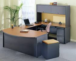 office table design. Office Tables Design Black Leather Wheeled Ergonomic Chair Wooden Table Wall Mounted Storage Shelves L Shape Brown Computer Desk I