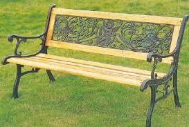 10 Slat Park Bench In Wood U0026 Metal  The Garden FactoryGarden Metal Bench
