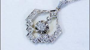 1920s antique platinum diamond pendant