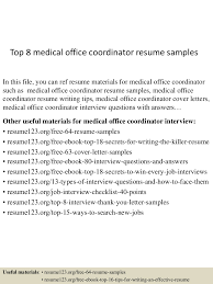 Office Coordinator Resume Sample Top 60 medical office coordinator resume samples 20