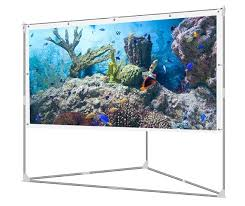 jaeilplm 100 inch wrinkle free portable outdoor projection screen