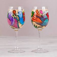 hand painted wine glasses favorite birds pair two hand