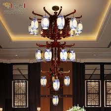 get ations large wooden lamp chandelier modern chinese wood 4 layer ceramic chandelier classical villa hotel floor