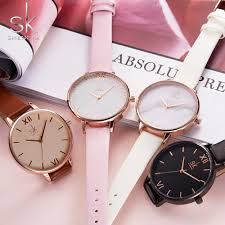 las fashion watches leather