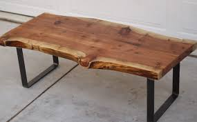 nice wooden slab coffee table stained varnished black steel metal stained varnished square rectangle