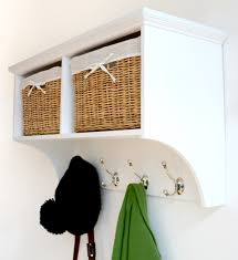 White Coat Rack With Storage TETBURY White Storage Bench with cushionHallway hanging shelf 52