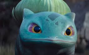 Scene from Detective Pikachu depicting a GI Bulbasaur in an up-close shot.