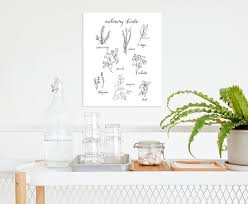 Culinary Herb Chart Kitchen Wall Decor Botanical Poster Kitchen Art Black And White Art Culinary Art Herbs And Calligraphy Framed Art
