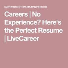 Careers No Experience Here's The Perfect Resume LiveCareer Beauteous Live Carreer