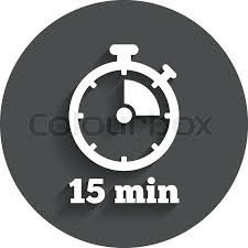 Timer Fifteen Minutes Timer Sign Icon 15 Minutes Stopwatch Stock Vector