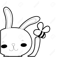 Outline Cartoon Rabbit With Bee Insect Flying Royalty Free Cliparts