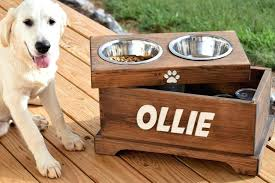 elevated dog feeder and storage box bowl with holder dog bowl stand