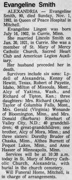 Obituary for Evangeline Smith, 1902-1992 (Aged 90) - Newspapers.com