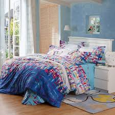 denim blue cream and red colorful graffiti print shabby chic hipster style unique abstract design 100 cotton full queen size bedding sets