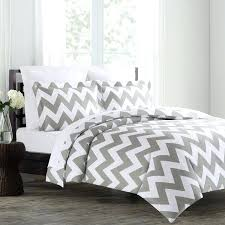 grey and white chevron bedding black