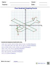 13 Four Quadrant Graph Paper Coordinate Plane Math Worksheets