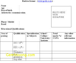 biodata form job application biodata sample for job application elegant biodata format download