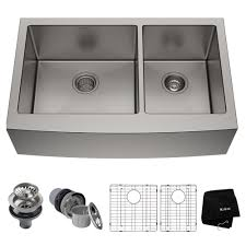 kraus standart pro farmhouse a front stainless steel 36 in double bowl kitchen sink