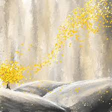 yellow painting yellow and gray landscape by lourry legarde