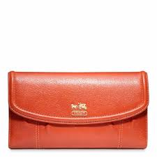 Coach 46615 B4P8 Madison Leather Checkbook Wallet Persimmon