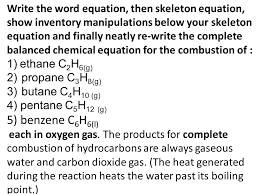 write the word equation then skeleton equation show inventory manipulations below your skeleton equation