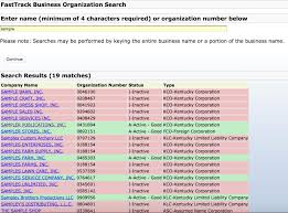 kentucky secretary of state corporation search business search kentucky sos fasttrack business organization sample search