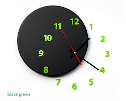 wall clock outoftime light4dark black green
