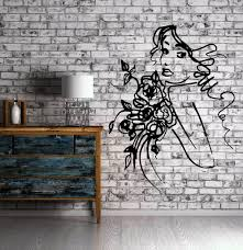 sexy young girl face sketch with flowers wall art mural vinyl decal sticker unique gift m623 on wall art murals vinyl decals stickers with sexy young girl face sketch with flowers wall art mural vinyl decal