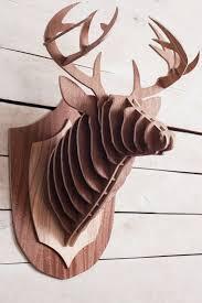 wooden deer head 3d animal head wall hanging wood sculpture wood deer wall decor cardboard