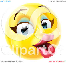 clipart of a 3d pretty female yellow smiley emoji emoticon face with makeup royalty free