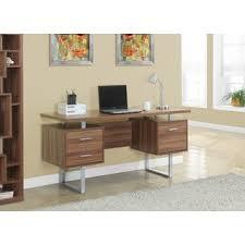 walnut office furniture. walnut hollow core silver metal 60inch office desk furniture
