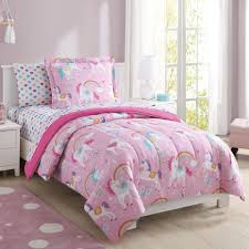 girls pink rainbow unicorn comforter bedding set kids beautiful bedroom decor
