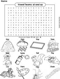 English as a second language (esl) grade/level: Ai Ay Vowel Team Phonics Worksheet Digraphs Word Search Coloring Sheet