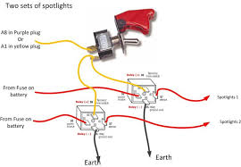 spotlight wiring diagrams two sets of lights both come on high beam only if switch is turned on