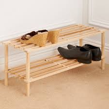 2 tier wooden shoe rack storage shelving b m pertaining to ideas 15