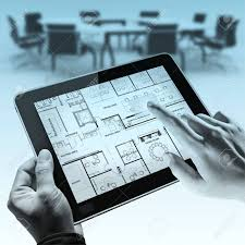 Business Tablet Business Hands Point On Interior Layout Plan On Tablet Computer