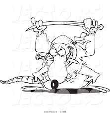 Small Picture Vector of a Cartoon Pirate Rat Outlined Coloring Page by