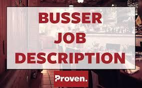 The Perfect Busser Job Description Proven