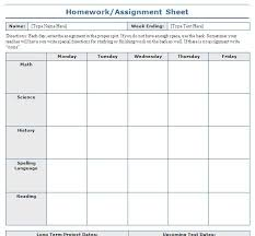 weekly assignment template school assignment sheet template blue layouts