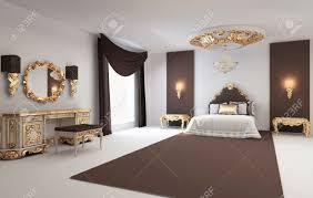 Barock Schlafzimmer Mit Goldenen Möbeln Im Innenraum Königlichen