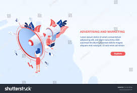 Office Banner Template Modern Web Banner Template With Giant Megaphone Or Bullhorn