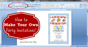 how to create a birthday card on microsoft word how to make your own party invitations just a girl and her blog