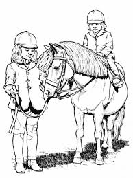 Little Girl Riding Horse Animal Coloring Pages Color Horses