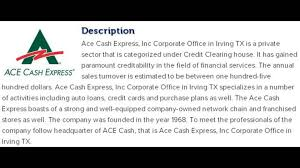 ace cash express inc corporate office contact information