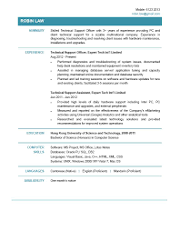 Technical Support Resume Resumes Pdf Format For Freshers It