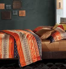 bohemian duvet cover striped ethnic boho reversible southwestern 400tc cotton bedding 3pc set navy white copper