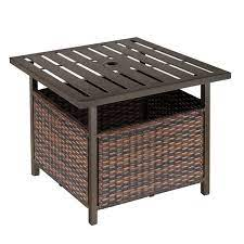 outsunny brown square rattan outdoor