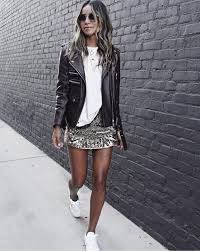 julie sarinana adds instant glamour to this outfit by adding a fitted leather jacket with